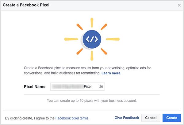 Ajoutez un nom pour votre pixel Facebook et cliquez sur Créer.