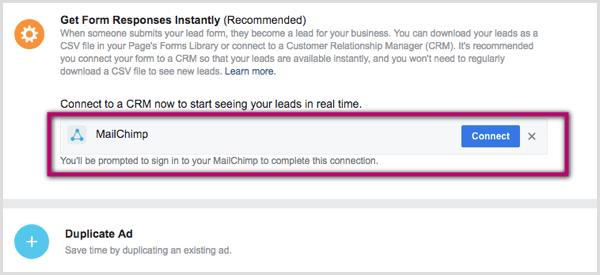 Verbinden Sie CRM mit der Facebook-Lead-Anzeige.
