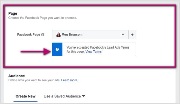 Wählen Sie im Anzeigenmanager die Facebook-Seite für die Hauptanzeige aus