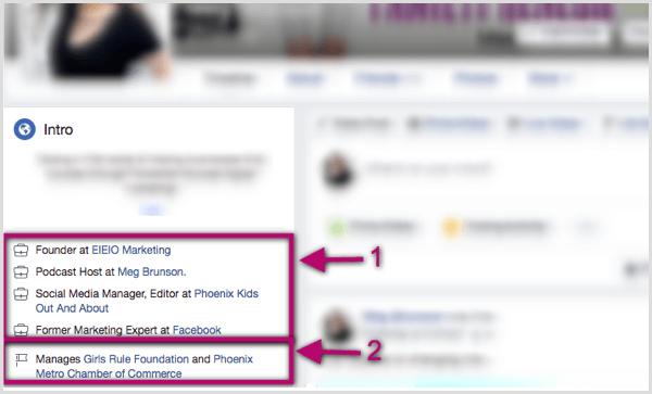 Links im Intro-Bereich des Facebook-Profils