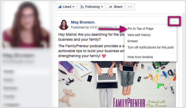 Pin to Top of Page Option für Facebook-Post
