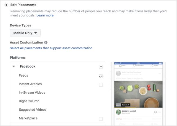 Select placements for a Facebook conversions campaign.