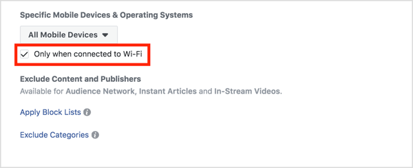 Select the Wi-Fi check box under Placements.