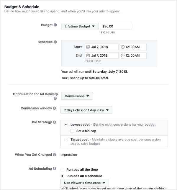 Set a budget and schedule for your Facebook campaign.