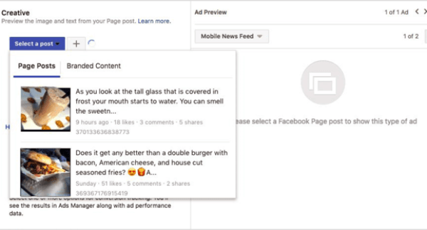Select a post for a Facebook engagement ad.