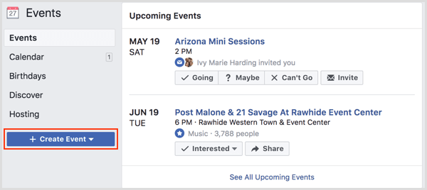 Create Event button on Facebook Events page