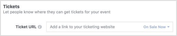 Use Ticket option to link to the Eventbrite ticket sales page