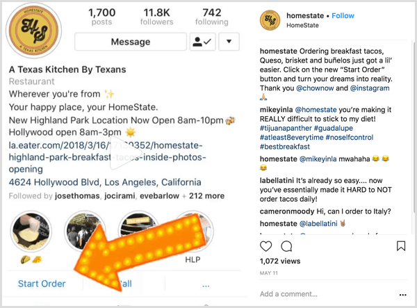 example of Instagram business post that shows users how to use the Start Order action button