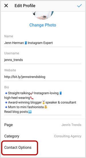 Contact Options on Instagram Edit Profile screen