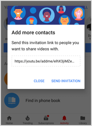 YouTube invitation link to share with people to add more contacts