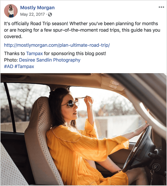 example of influencer blog post link shared on Facebook