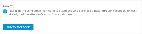 Click Add to Facebook in Eventbrite