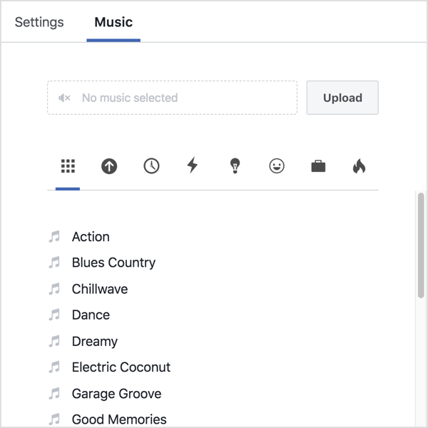 Click the Music tab and either upload your own audio or select a track from Facebook's library.