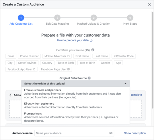 Specify the origin of the customer data, upload your file, and give your custom audience a name.
