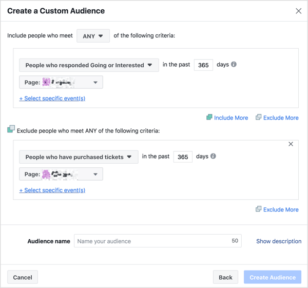 """Create your custom audience based on people who responded """"Going"""" or """"Interested"""" but exclude people who have already purchased tickets."""
