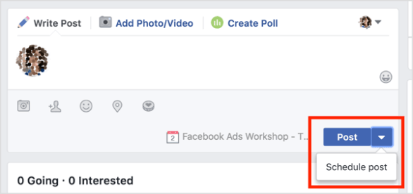 Schedule a post to the Facebook event wall.