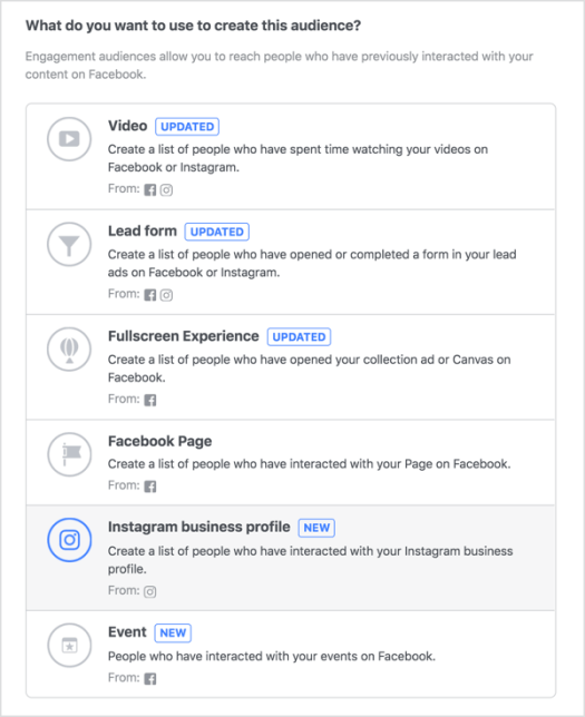 Create a new custom audience based on engagement and select the Instagram Business Profile option.