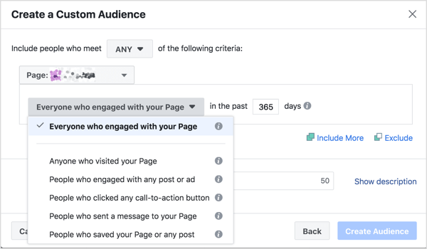Specify the criteria people will need to meet to be included in this page engagement custom audience.