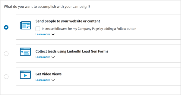 Choose the campaign objective for your LinkedIn video ad campaign.