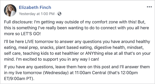 Facebook post with details about AMA and asking for questions from followers.