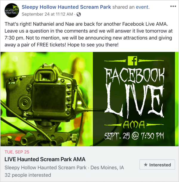 Facebook event post promoting AMA.