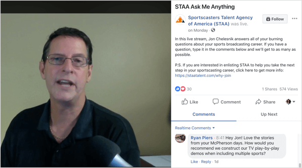 Facebook Live broadcast of AMA with customer questions.