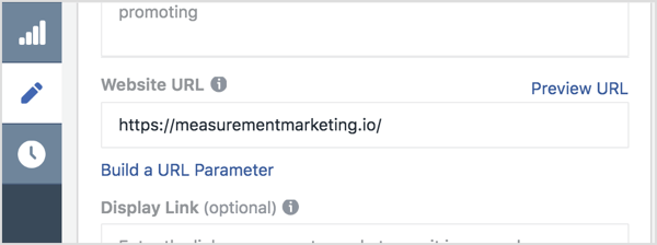 In Ads Manager, type your main link in the Website URL box.