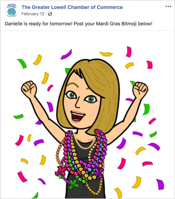 To build anticipation for your Facebook event, ask participants to respond to an event post with their bitmoji.