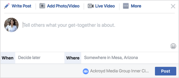 Click on Get Together and then write a brief description, select a time, and determine a location.
