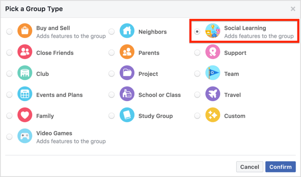 To set your group to Social Learning, click More under the group cover and select Edit Group Settings.