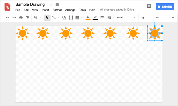 As you try to align your shape in a row in Google Drawings, helpful reference lines appear as you click and drag the copies.