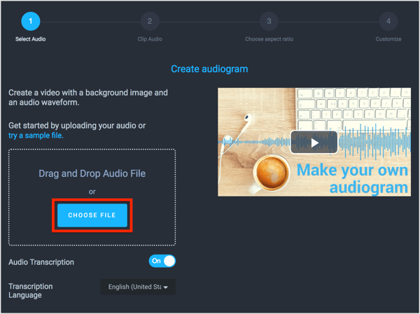 Click Choose File and navigate to your flash briefing file, or drag and drop your audio.