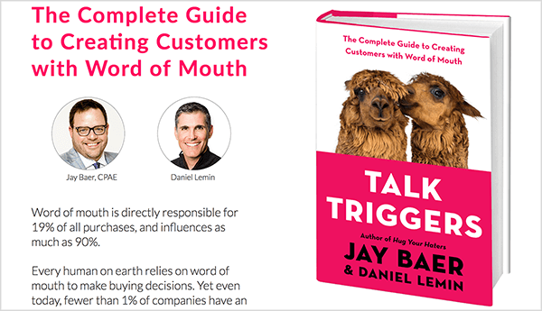 This is a screenshot of the Talk Triggers website. On the left is text about the book and photos of Jay Baer and Daniel Lemin. On the right is book cover for Talk Triggers.