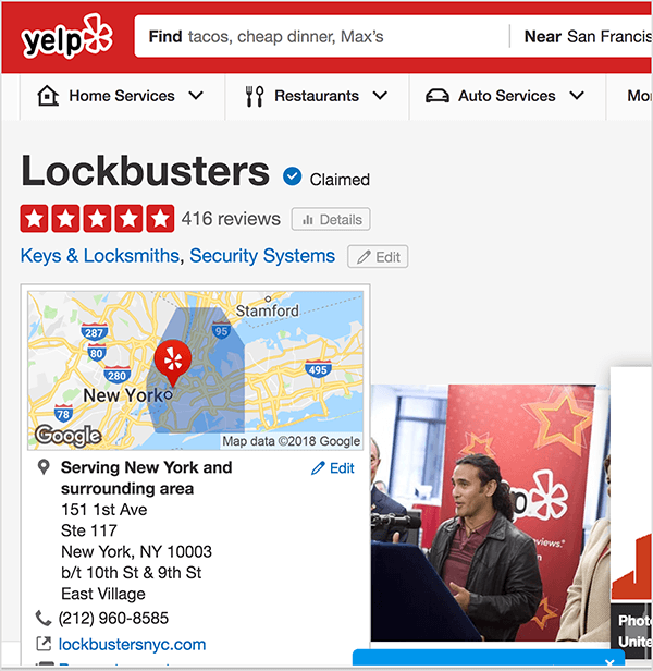 This is a screenshot of the Lockbusters high rating on Yelp. Jay Baer says the free security audit is an example of a relevant talk trigger.