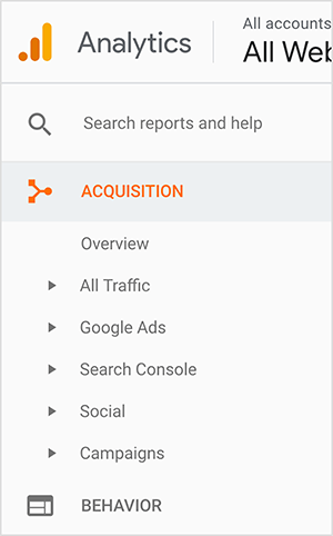 """This is a screenshot of the Google Analytics sidebar. The logo appears in the upper left. It's an orange dot next to a orange bar and then a taller yellow bar, suggesting a bar graph. From top to bottom in the sidebar are the following options: a box labeled """"Search reports and help"""", Acquisition (which appears in orange), and its suboptions. The suboptions are Overview, All Traffic, Google Ads, Search Console, Social, and Campaigns. A small triangle appears next to each suboption, suggesting you can see additional options by clicking the triangle. The last main-level option shown is Behavior. Jennifer Priest uses Google Analytics to see which pins send her the most traffic and evaluate what hashtags, images, and boards are working well for her website traffic."""