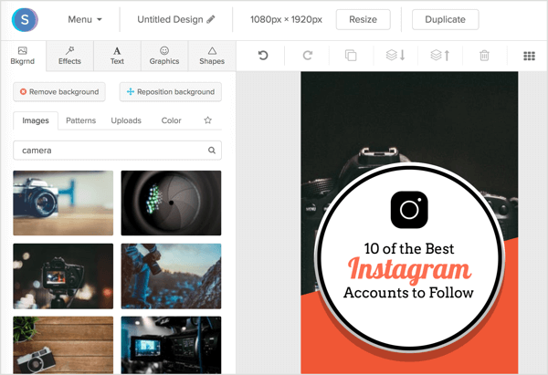 Search through Snappa's royalty-free image library or upload your own background by clicking the Uploads button.