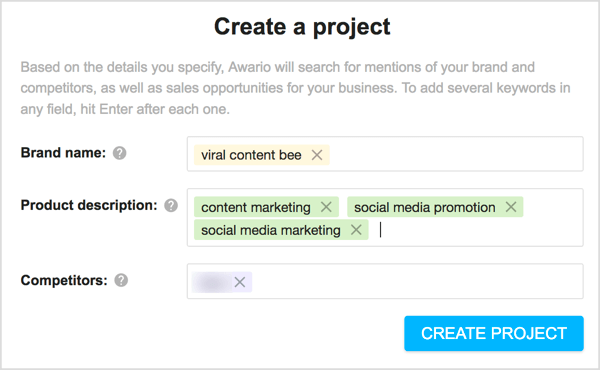 Create a project in Awario.
