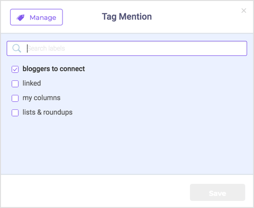 Use tags to organize your brand's unlinked mentions.