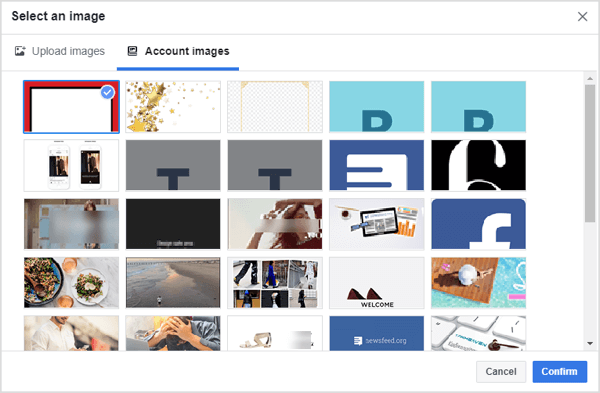 Select the frame you created for your Facebook dynamic ads campaign.