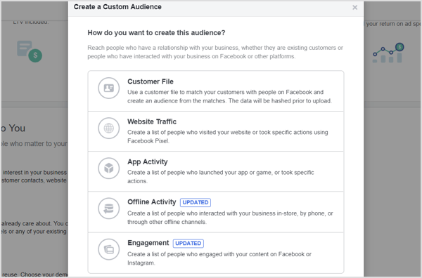 Create a custom audience for your Facebook campaign.