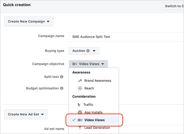 Select Video Views from the Campaign Objective drop-down list.