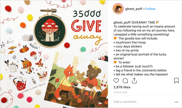 Artist ghost_puff uses a friendly, relatable posting style that invites community chatter on Instagram.