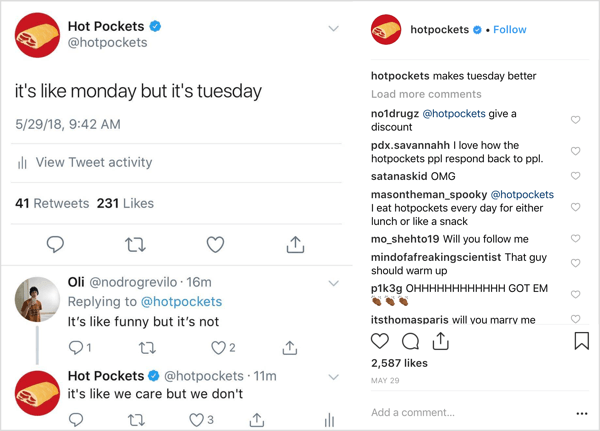 Hot Pockets Instagram post with trademark oddball humor.
