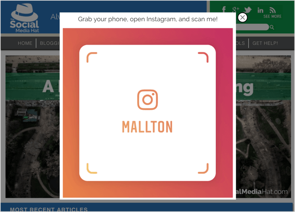 An exit pop-up with an Instagram nametag.