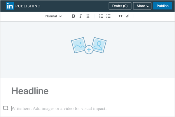 Copy and paste your blog content into the LinkedIn publishing tool