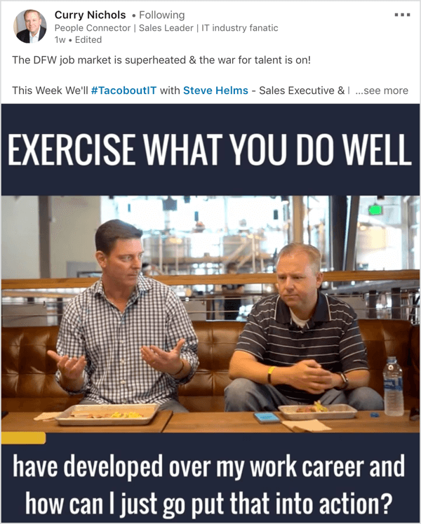LinkedIn video show interview example.