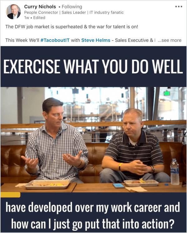 LinkedIn video show interview voorbeeld.
