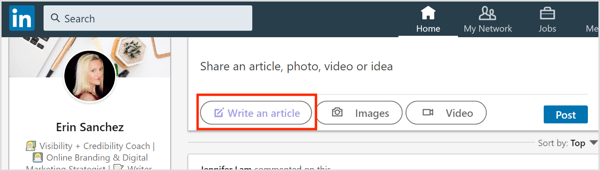 Click the Write an Article button on LinkedIn.