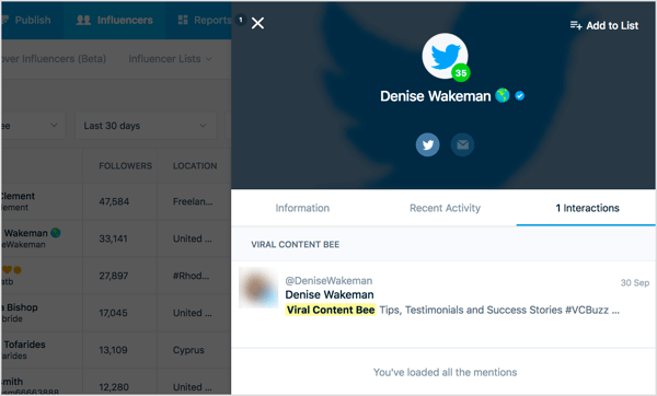 Click an influencer's name in Mention to open a Details tab.