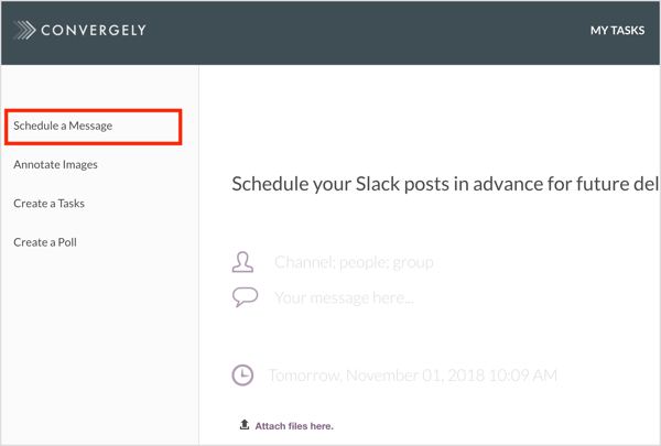 Schedule a Slack message with Convergely.